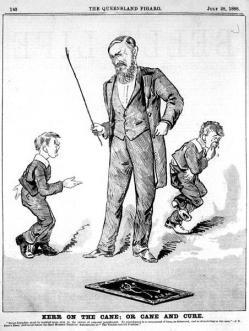 Dessin d'enfants recevant un châtiment corporel (1888)
