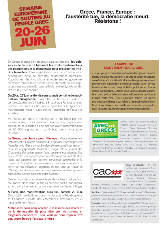 Tract semaine europeenne grece